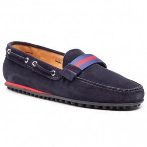 Men's Navy Blue Leather Moccasins FABI Going Out On Sale stores HG1H8