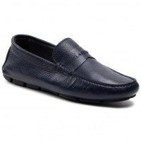 Men's Navy Blue Leather Moccasins POLLINI Going Out the best stores NAAND